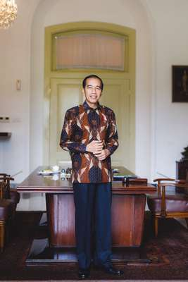 Joko Widodo at the presidential desk