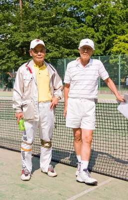 Junichi Ishibashi, 69 (left) Worked at Asahi beer for 38 years. He now organises tennis camps, magic shows and trips round Asahi beer (unlimited drinks on offer) for others in his age bracket. Also plays Japanese chess. Hirotoshi Iwata, 70 (right) Since his office life ended, tennis has become his new passion. He is chairman of  a tennis club for retirees.