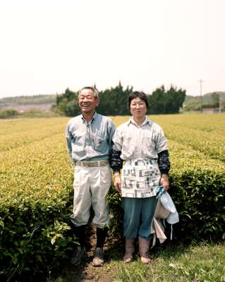 Tea farmer Sadayuki Ogata and his wife. They produce an organic black tea called Beni Ogata