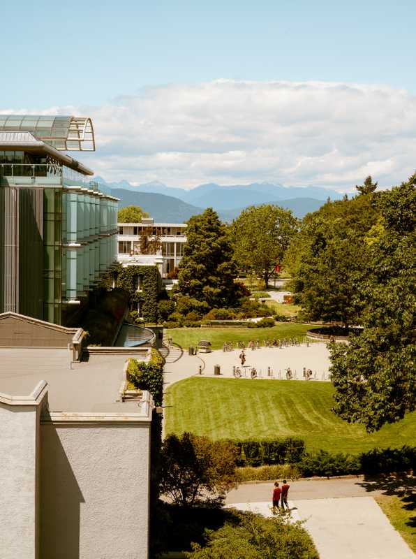 Rooftop view looking north towards the North Shore mountains across UBC campus