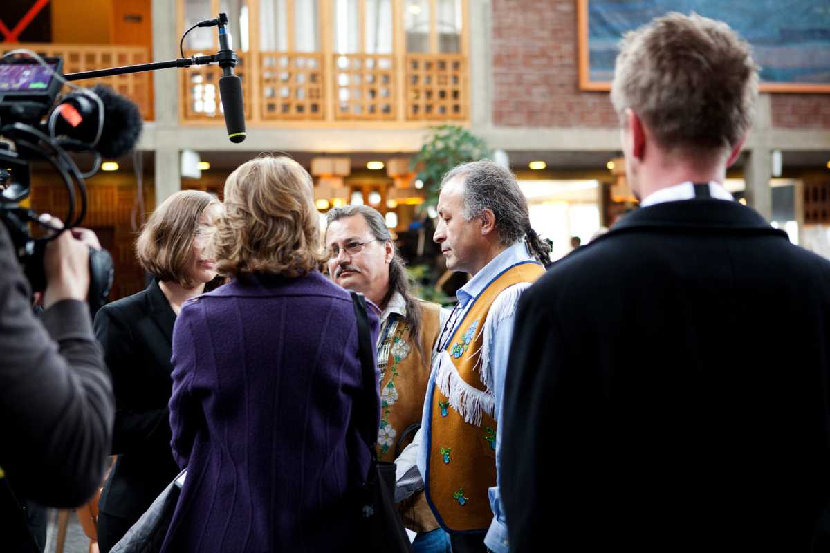 Arctic Athabaskan Council members interviewed outside Kiruna town hall