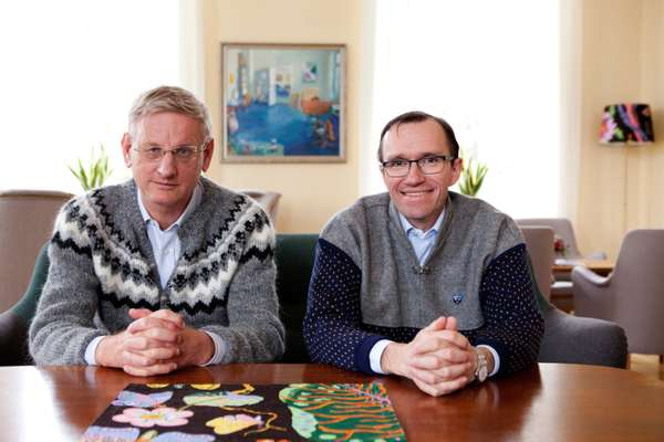 Foreign Ministers Carl Bildt (left) and Espen Barth Eide