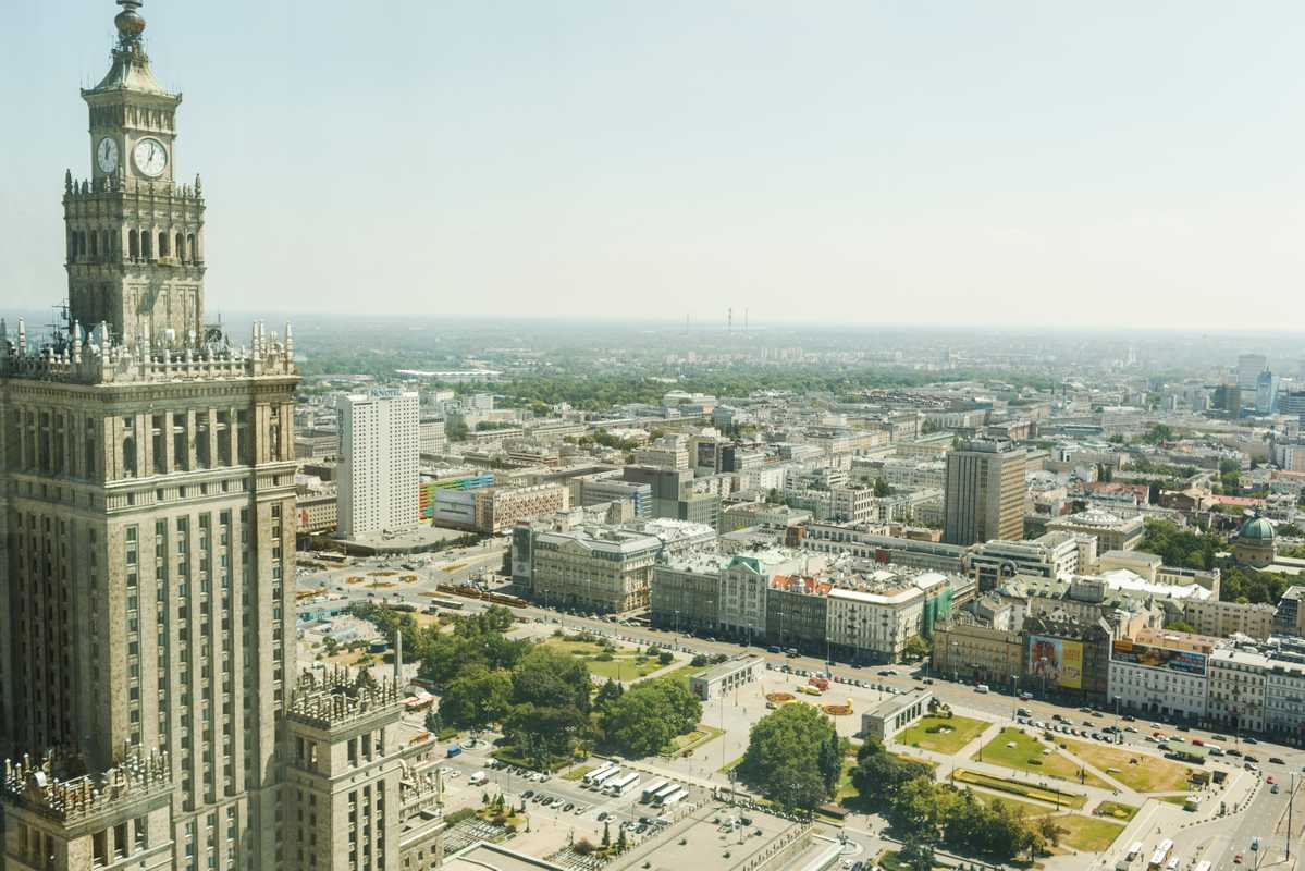 Palace of Culture and Science with a view to the city's south