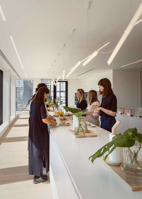 The busy top-floor kitchen area