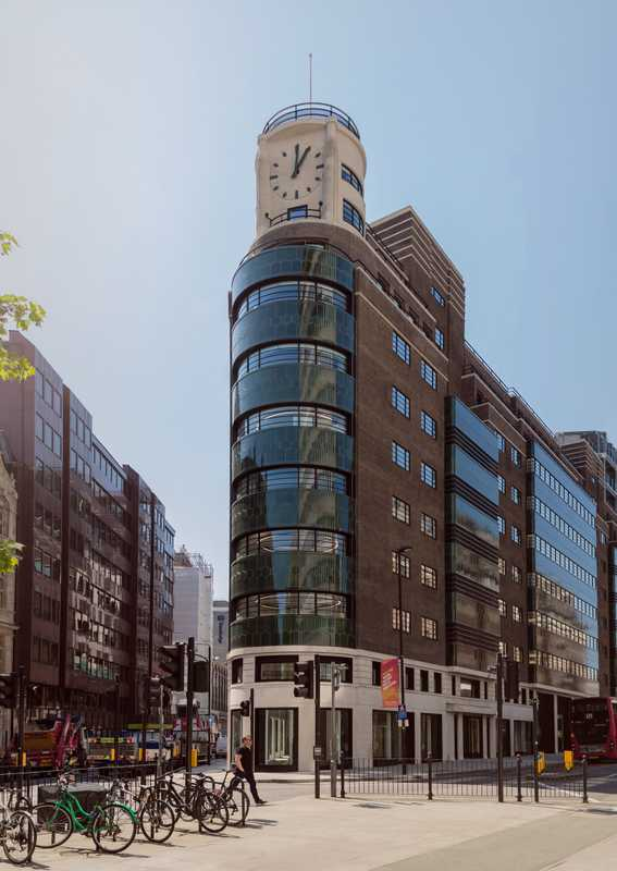 The new headquarters' prominent clock tower