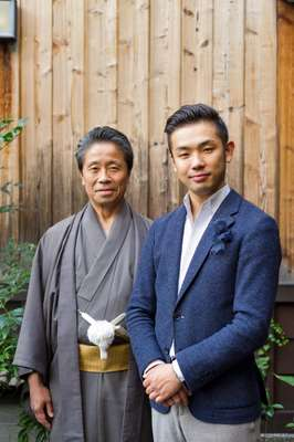 Masataka Hosoo (right) with his father, Masao Hosoo