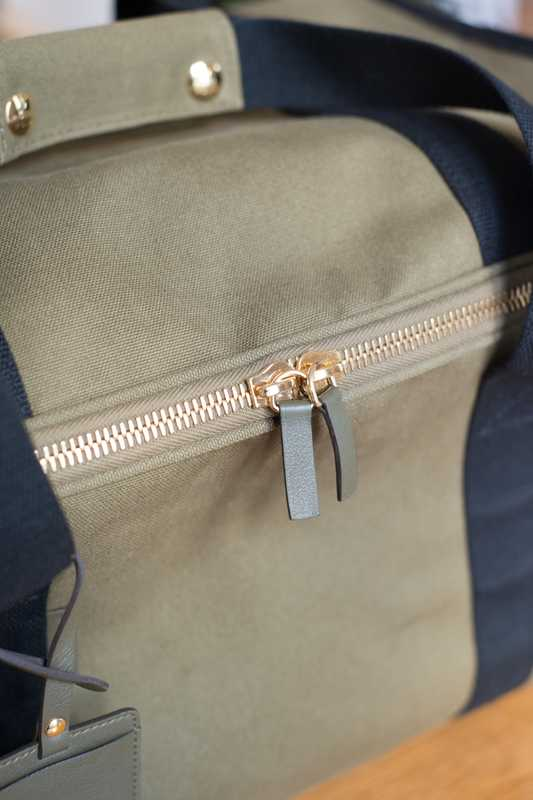 Zip detail on No. 9 travel bag
