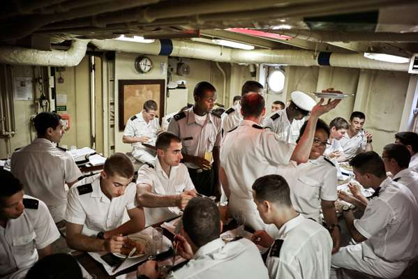 Cadets eat their lunch on the 'Sagres'