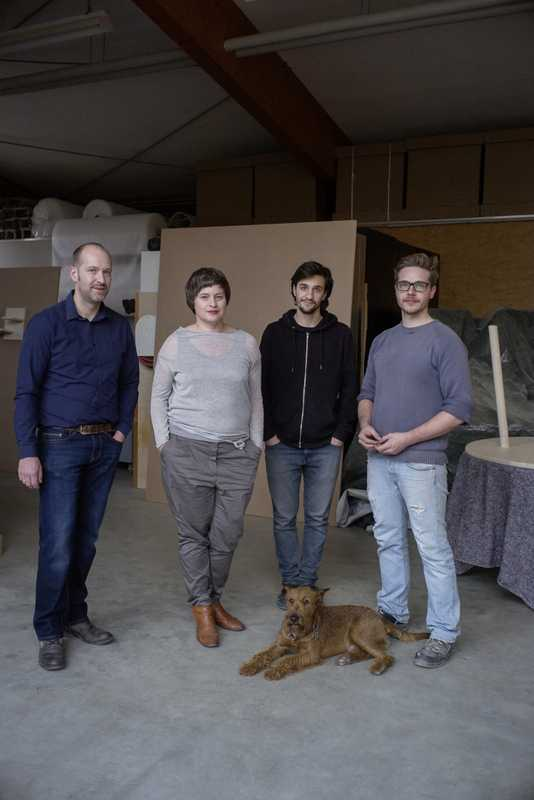 (l-r) Oliver and Nicola Stattmann, Shay Assas, Frederik Kötter and Murphy the dog