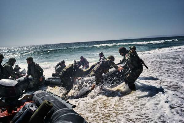 Marines land on the beach during a training exercise