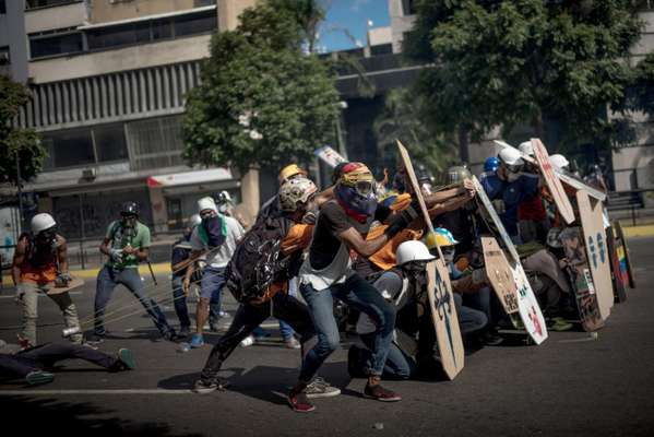 Protesters in Caracas