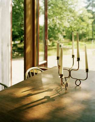Brass candlestick in the dining room