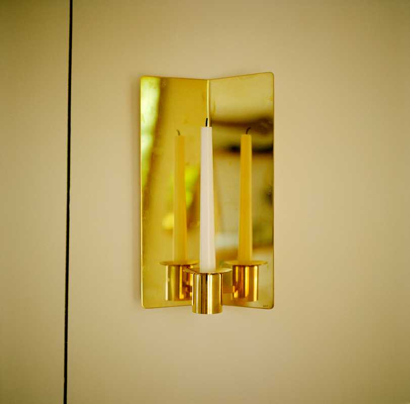 Svenskt Tenn candle sconce; the house has no electricity