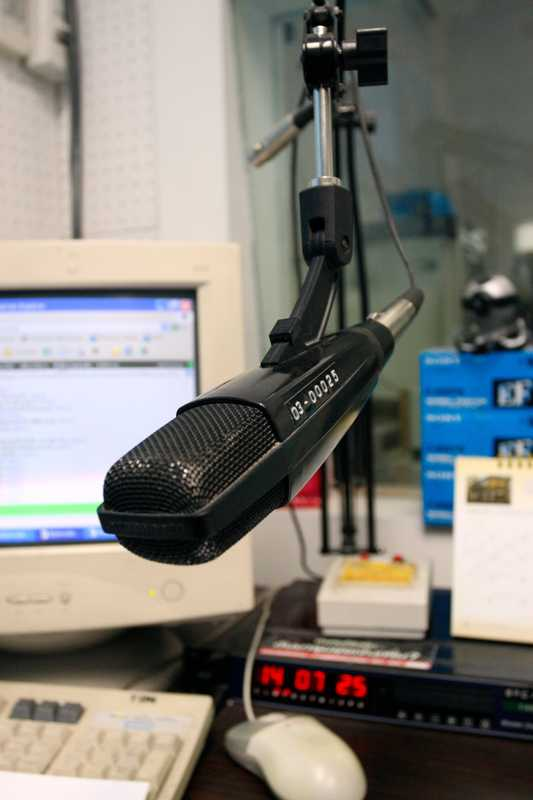 Microphone in the radio station