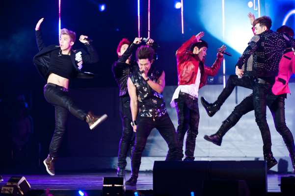 The K-pop band 2PM performing this year at the Olympic Hall Opening Ceremony at Olympic Park in Seoul