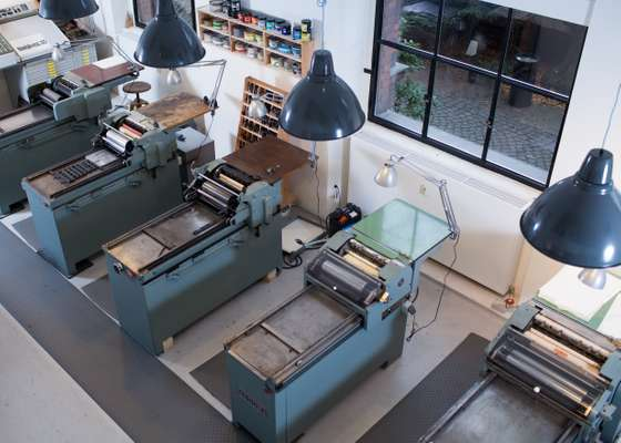 Korrex letterpress machines, many of which Spiekermann salvages