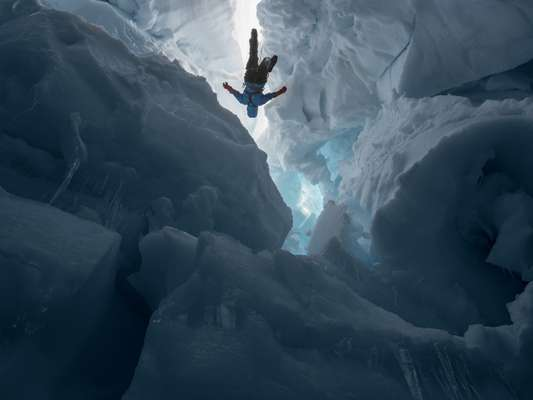 'Kenzie in a Crevasse', Juneau Icefield Research Program, Alaska