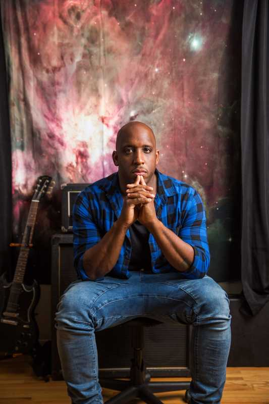 Rapper Derek Minor in his Nashville studio