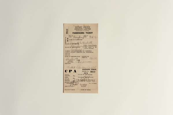 A passenger's flight ticket from 1948