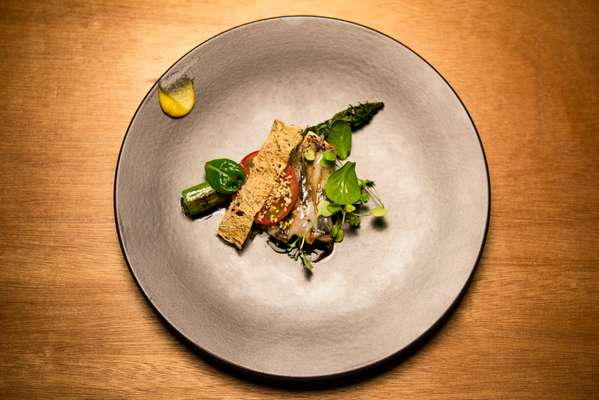 Mackerel with asparagus and herb salad