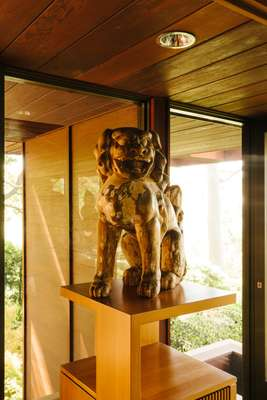 Chinese guardian lion standing watch