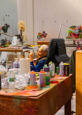 Stella in his studio