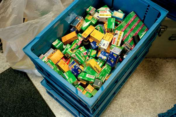 A crate of film at a second-hand shop in Ginza