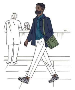 COAT by Herno, POLO SHIRT by Salvatore Ferragamo, TROUSERS by Incotex, TRAINERS by New Balance, BAG by Porter