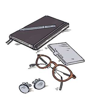 GLASSES by Eyevan, CUFFLINKS by Cartier, NOTEBOOK by Leuchtturm1917, PEN and CARDHOLDER  by Tiffany & Co