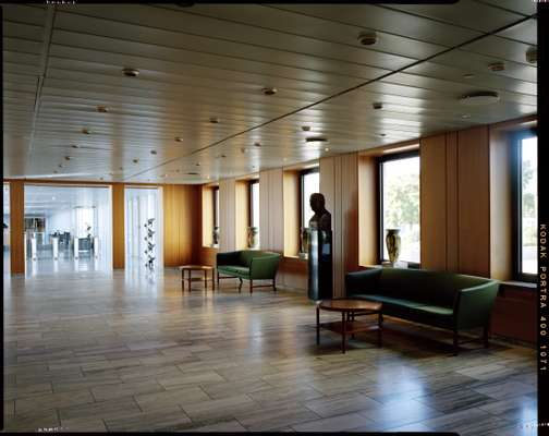 Lobby of the 1970s building, complete with bust of AP Møller