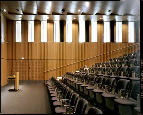 Oak-panelled auditorium, part of the 2005 extension by Bo Boje Larsen