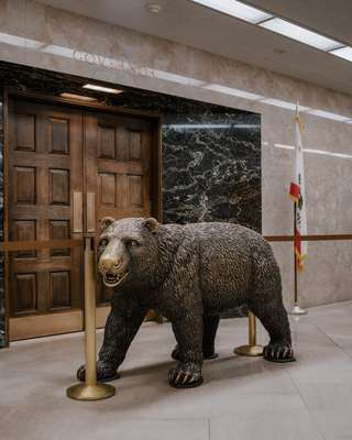 Governor Jerry Brown's office is guarded by a bronze bear