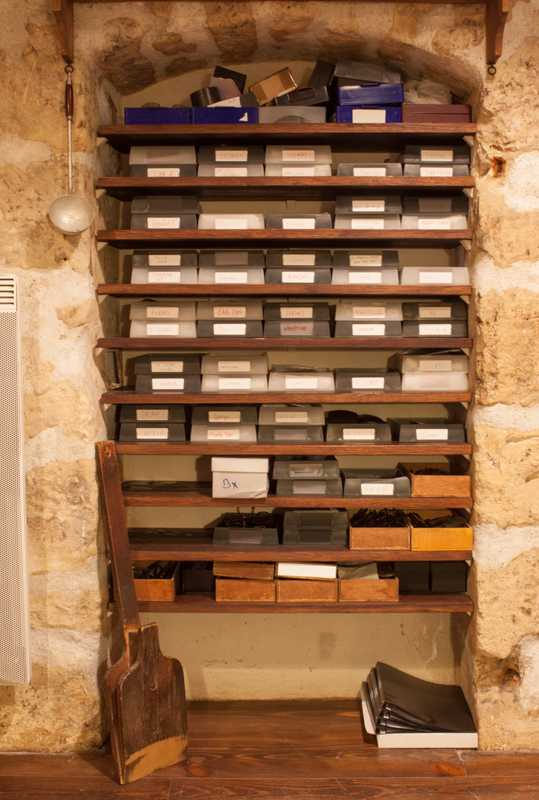 Neatly stacked boxes of frames