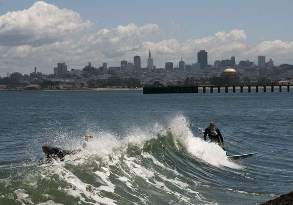 The city's stretch of Pacific Ocean is home to devout surfers