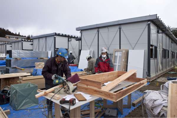 Workers from Daiwa House prefab housing company