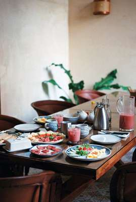 Breakfast awaiting visitors  in the dining room