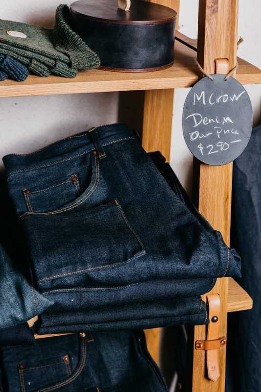 Tyler Hays' denim line for sale in the shop