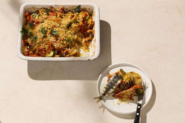 Tumbet: layered Mediterranean vegetables with zesty breadcrumbs