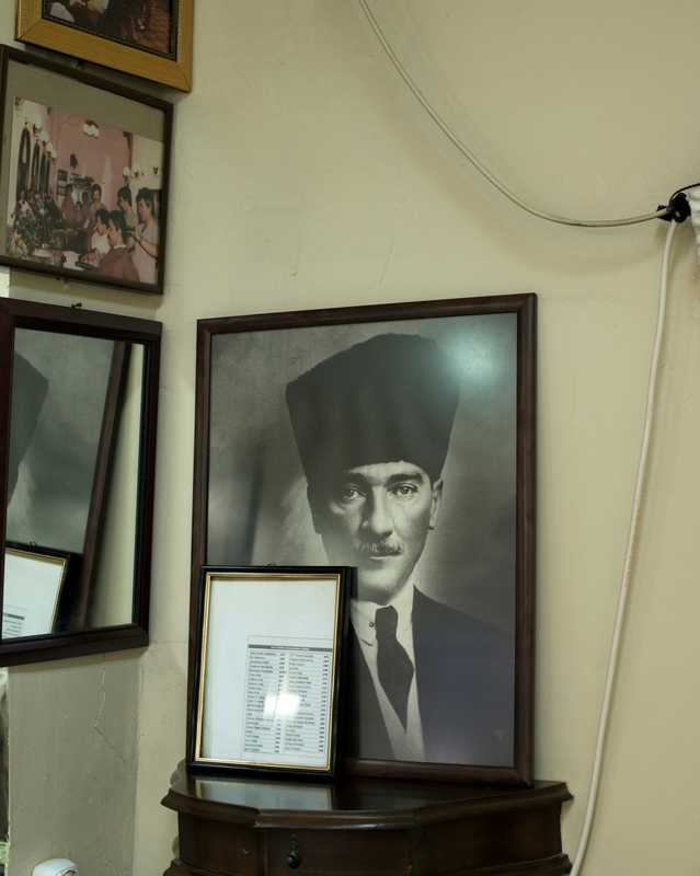Portrait of father of the nation Mustafa Kemal Ataturk watching over the shop
