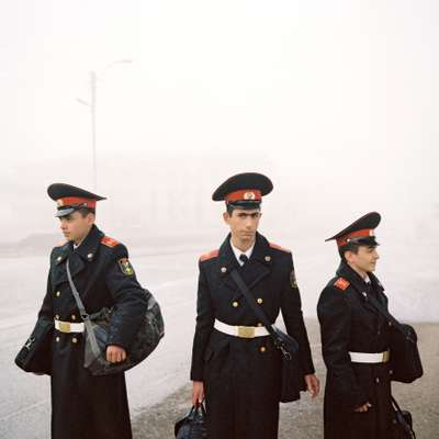Armenian cadets waiting for a bus home after a day at Stepanakert's academy