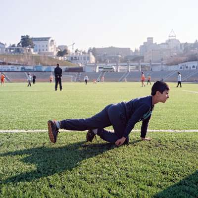 Armenian youngsters at football training in Stepanakert Stadium