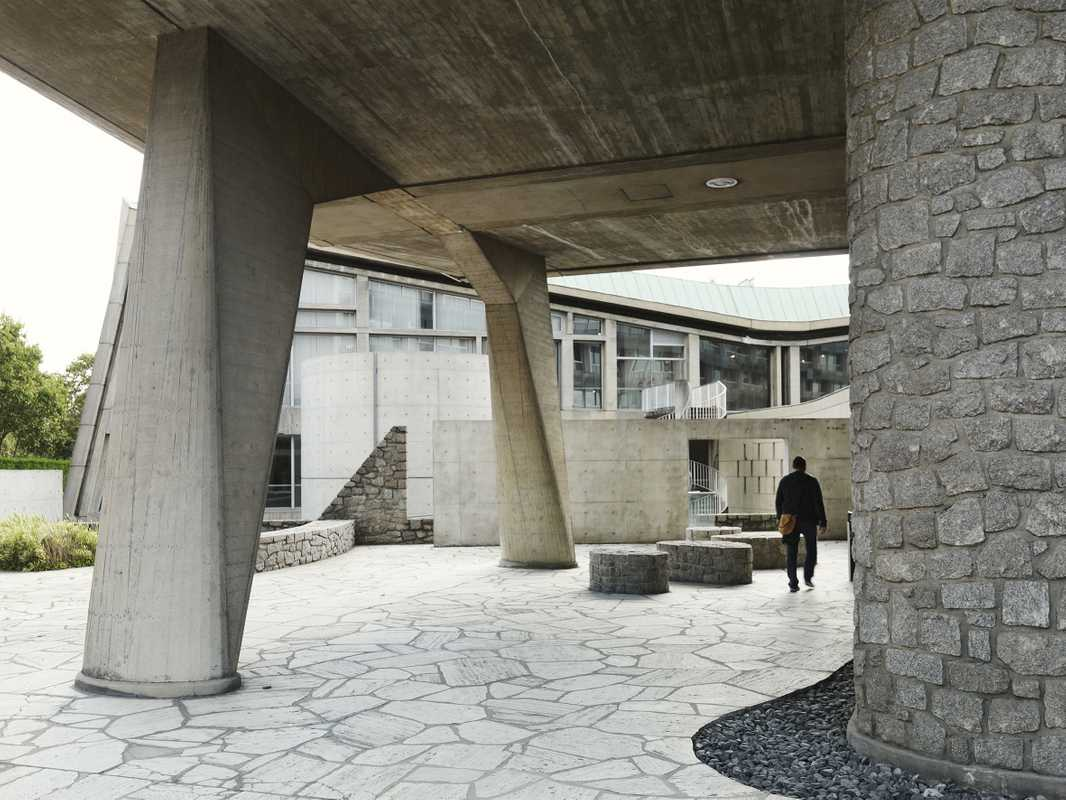 Meditation space designed by Tadao Ando and made from decontaminated granite from Hiroshima