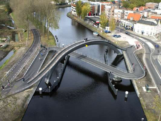 Bird's-eye view  of Melkwegbridge in Purmerend