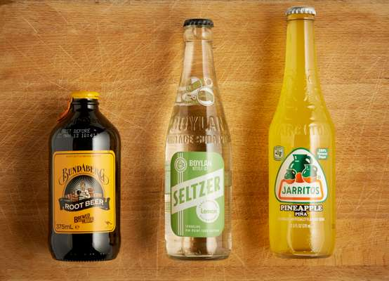 Bundaberg Root Beer (left), Boylan Lemon Seltzer (centre) and Jarritos Pineapple soda (right)