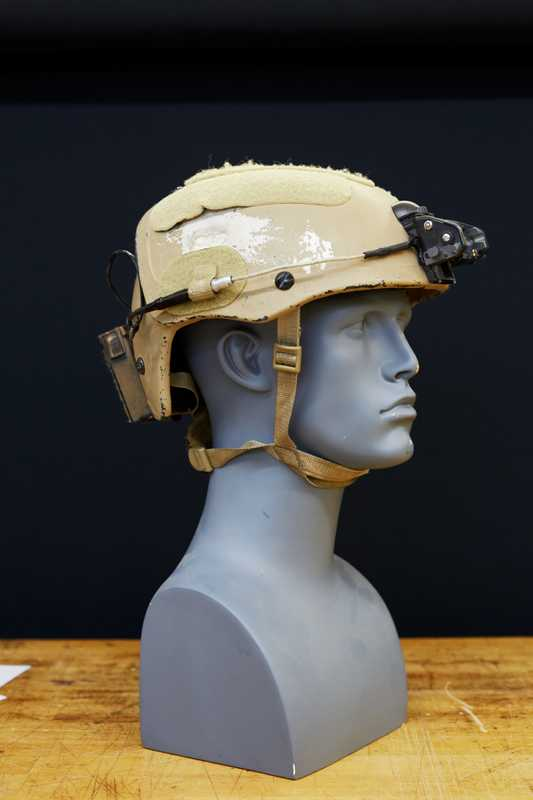 A Crye Precision helmet showing where a bullet was deflected