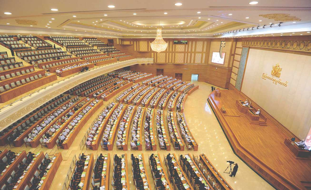 Members of parliament attending proceedings at the Union Parliament in Naypyidaw