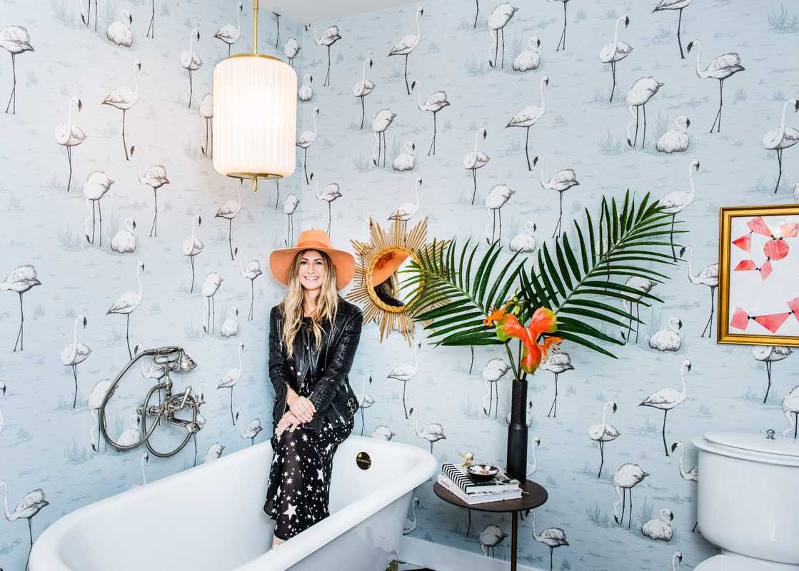 LA decorator Dee Murphy in the bathroom she designed at the Christopher Kennedy Compound