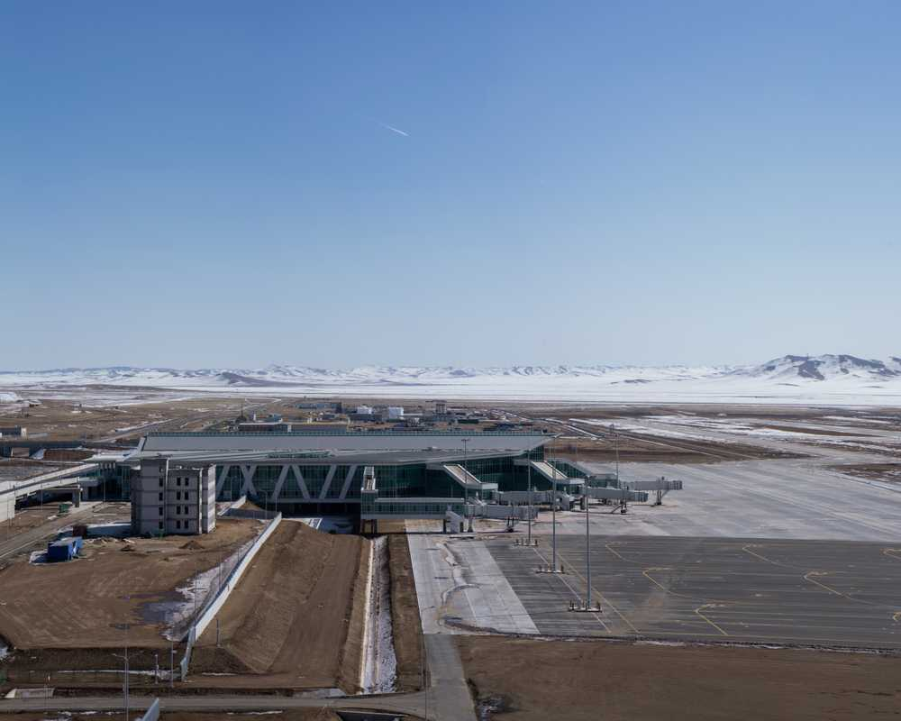 The new Chinggis Khaan International Airport under construction