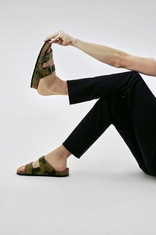 Trousers by Loro Piana, sandals by Birkenstock
