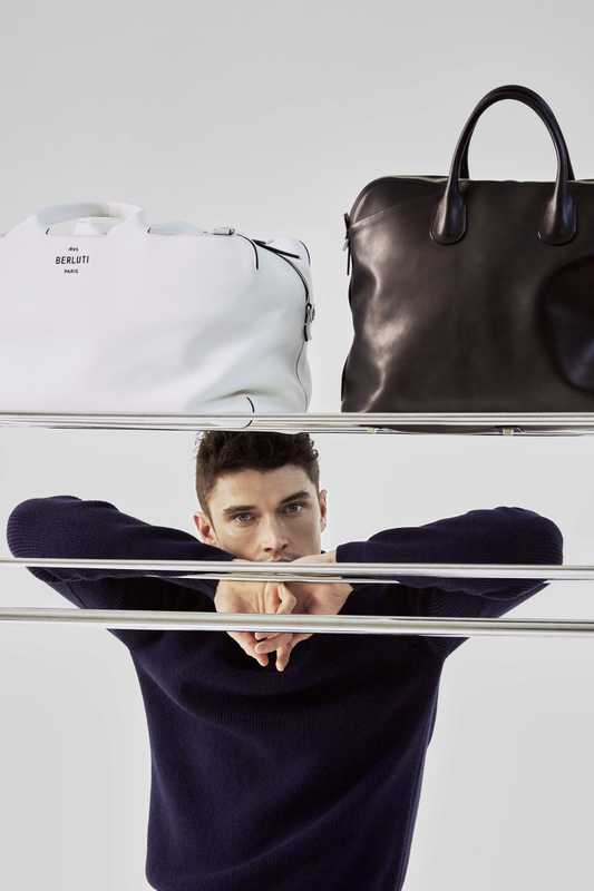 Jumper by Marfa Stance, bag (left) by Berluti, bag (right) by Valextra